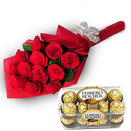 Charming Roses - Bunch of 12 Red Roses in paper packing with 200gm box of Ferrero Rocher Chocolate.:Diwali Ferrero Rocher-chocolates