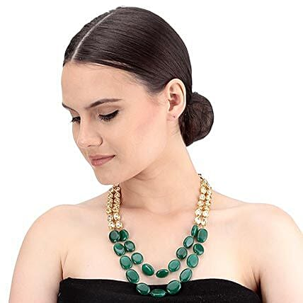 Chic Kundan Necklace Set Gold & Green