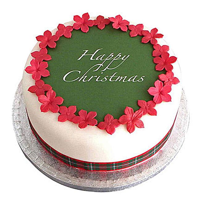 Christmas Fondant Cake Vanilla 2kg Eggless