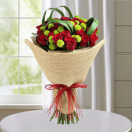 Classic Red Roses Hand Tied Bouquet For Icici