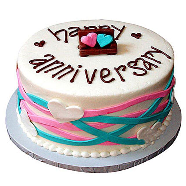 Colorful Anniversary Fondant Cake Vanilla 4kg Eggless