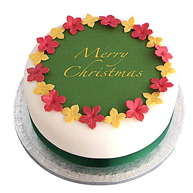 Colorful Christmas Fondant Cake Black Forest 3kg Eggless