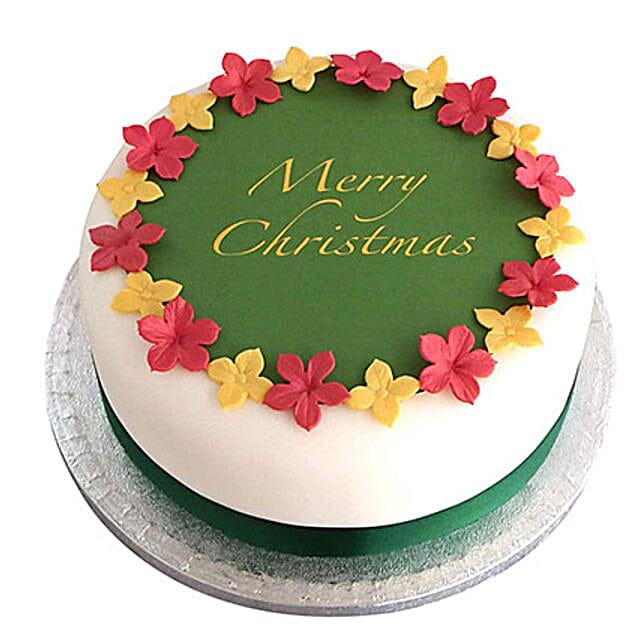 Colorful Christmas Fondant Cake Butterscotch 2kg