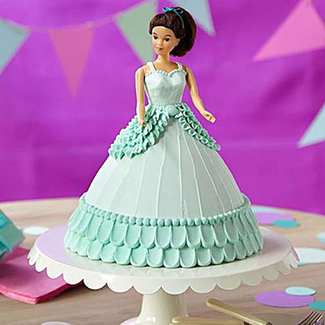 Cool Blue Barbie Cake Vanilla 3kg Eggless