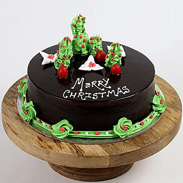 Creamy Christmas Tree Vanilla Cake- 1 Kg Eggless