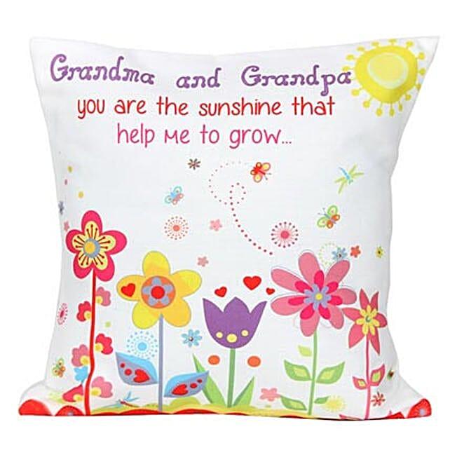 Grandma and Grandpa Cushion-White Printed Cushion 12X12 inches