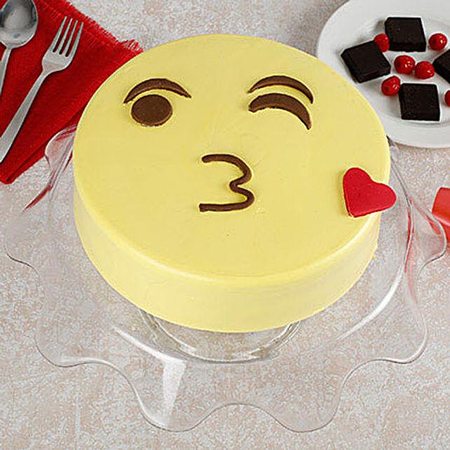 Cute Kiss Emoji Cream Butterscotch Cake 1kg
