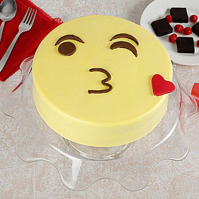 Cute Kiss Emoji Cream Pineapple Cake 3kg Eggless