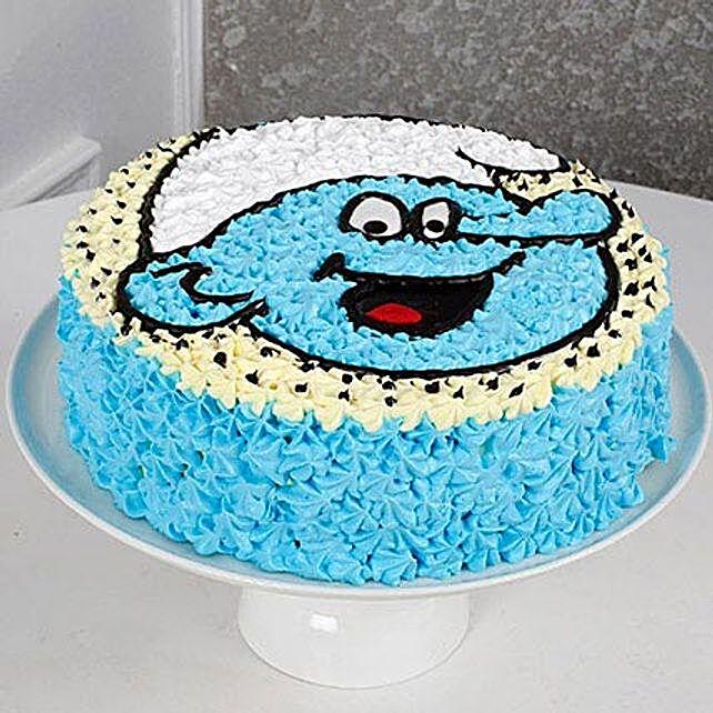 Cute Smurf Cream Black Forest Cake 3kg