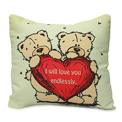 Cute Teddy With Message Cushion By FNP