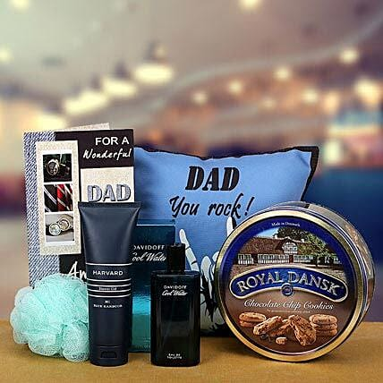 Combo of cushion, cookies, greeting card, perfume and shower gel for dad