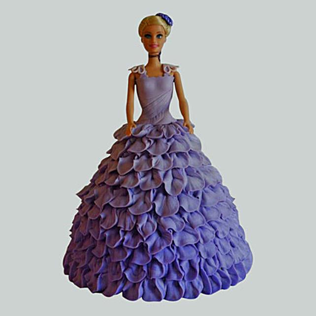 Dazzling Blue Barbie Cake Pineapple 3kg Eggless