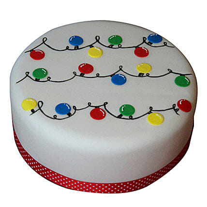 Decorative Christmas Fondant Cake 2kg Butterscotch Eggless
