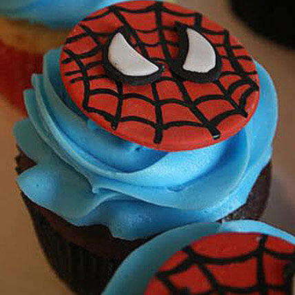 Delicious Spiderman Cupcakes 12 Eggless