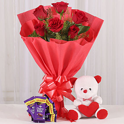 Divine Love - Bunch of 6 Red Roses with 6inch cute Soft & 5 Cadbury . gifts:Chocolate Combos