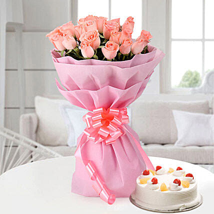 Elegant Wishes 20 Pink Roses with Cake Eggless