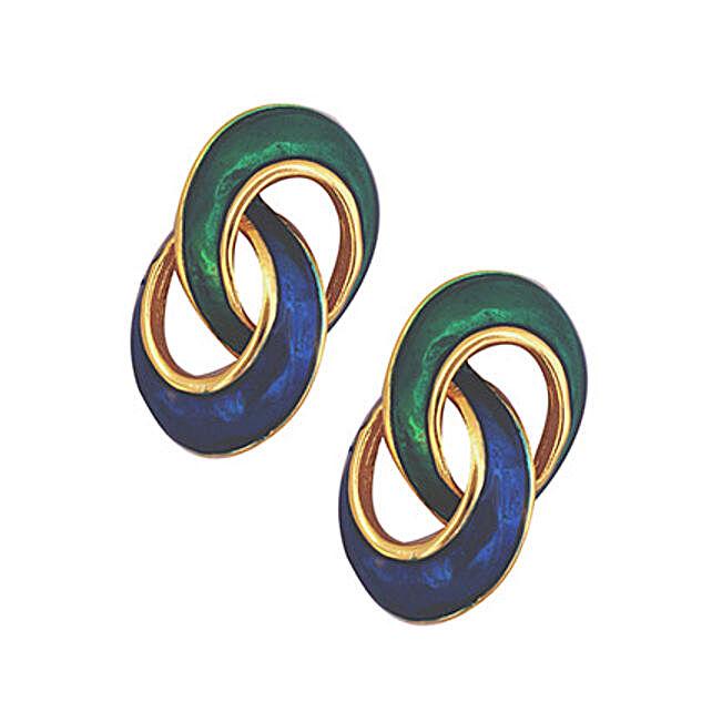 Estelle Green Blue Stud Earrings