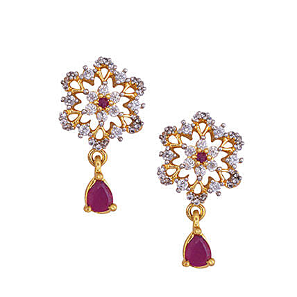 Estelle Red Floral Shaped Earrings