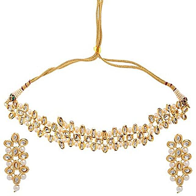 Evening Wear Kundan Necklace Set