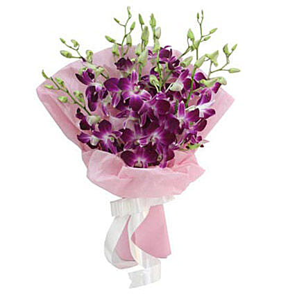 Exotic Beauty - Bunch of 9 purple Orchids in pink paper packing.