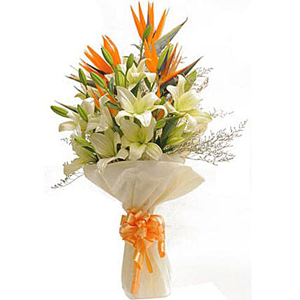 Bunch of 6 white asiatic lilies, 3 orange birds of paradise and seasonal filler