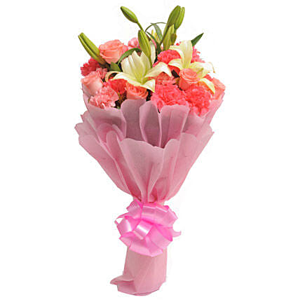 Fathers Day Spl Carnations N Lilies By FNP