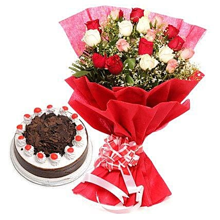 Fathers Day Spl Colorful Roses n Cake By FNP