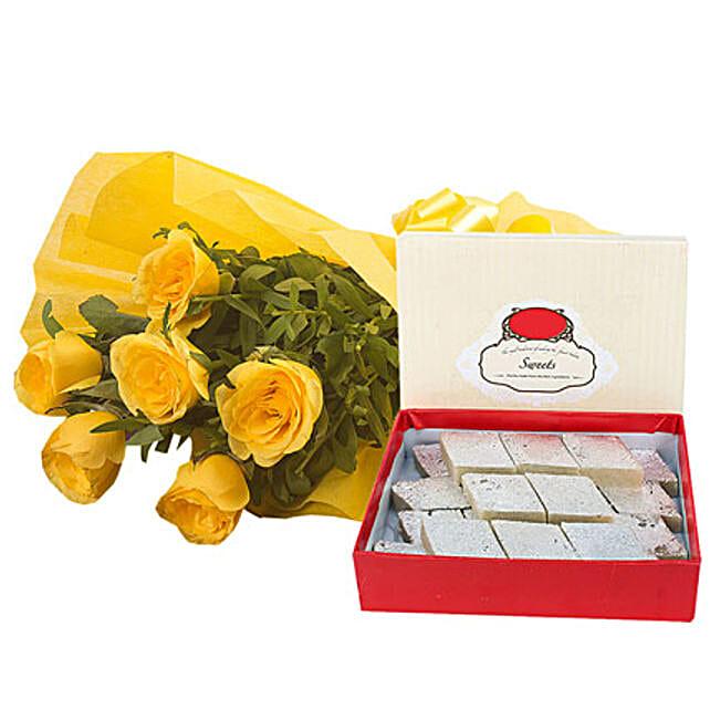 Fathers Day Yellow Roses N Kaju Katli By FNP