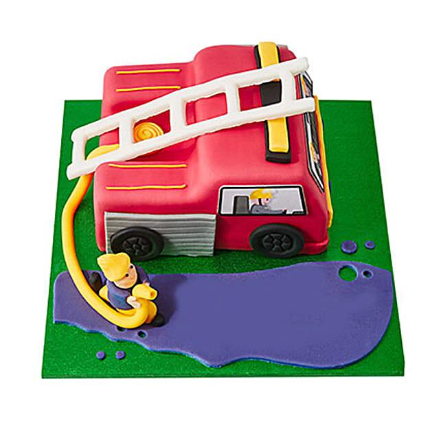 Fire Engine Fondant Cake Black Forest 2kg Eggless