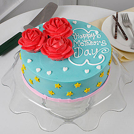 Floral Mothers Day Black Forest Cake 1kg Eggless
