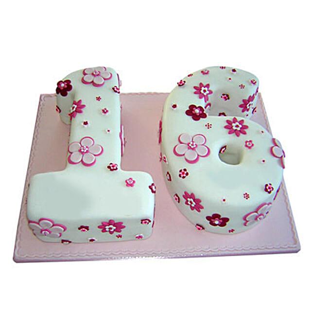 Floral Sweet Sixteen Cake 4kg Eggless Vanilla