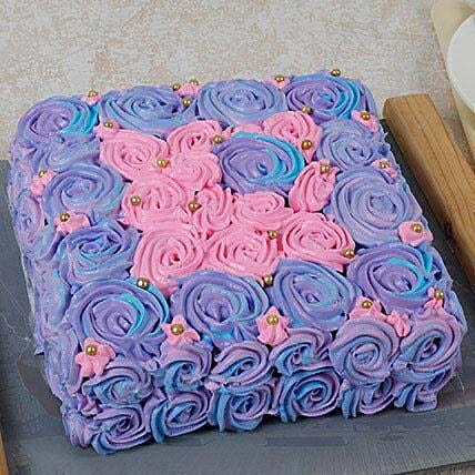 Floral Touch Mothers Day Vanilla Cake Half kg Eggless