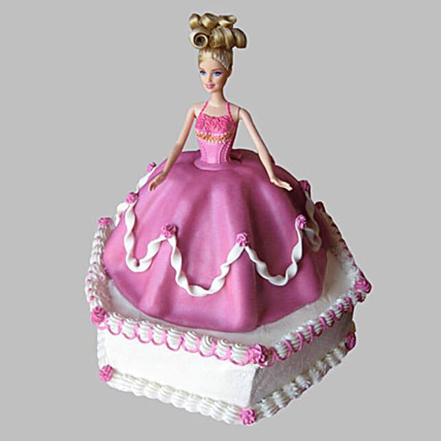 Florid Barbie Cake 2kg Eggless Vanilla