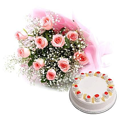 Flower Hamper - Bouquet of 10 pink roses in paper packing