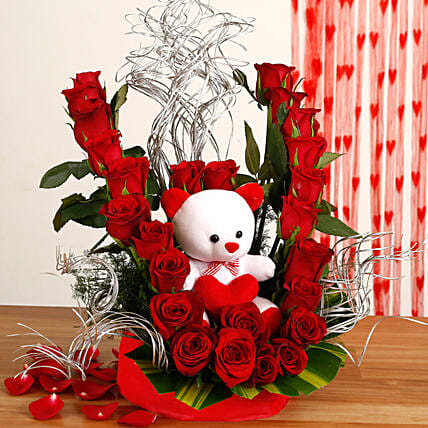 Flowerly Yours - Nice arrangement of 25 Red roses with cute .
