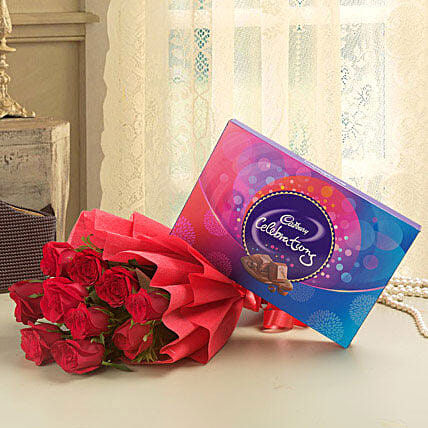 Combo of a bunch of 10 red roses with cadbury celebrations chocolate box:Birthday Flowers And Chocolates