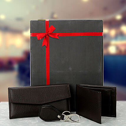 Combo of black ladies wallet, gents wallet and keyring
