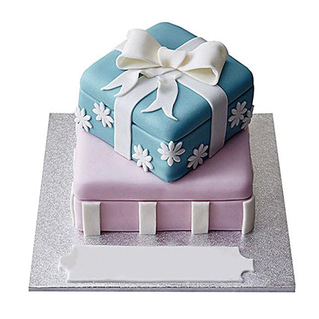 Gift Box Fondant Cake Vanilla 3kg Eggless