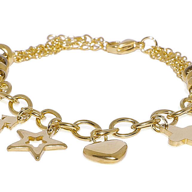 Gold Colour Plated Heart & Star Charm Bracelet