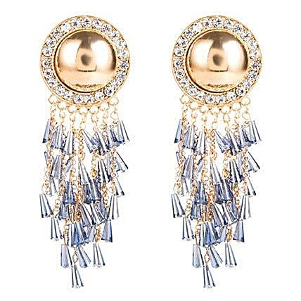 Gold Plated Blue Tassel Earrings