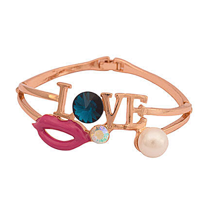 Gold Plated Love Bracelet with Sapphire & Pearl