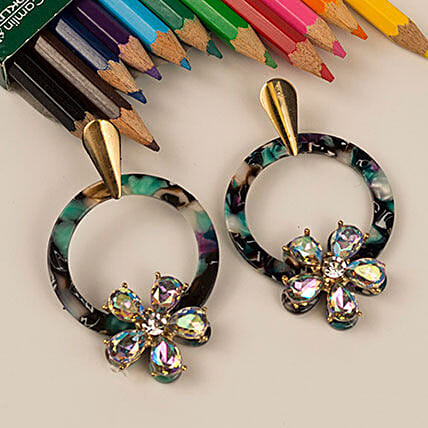 Gold Plated Multicoloured CZ stone Earrings