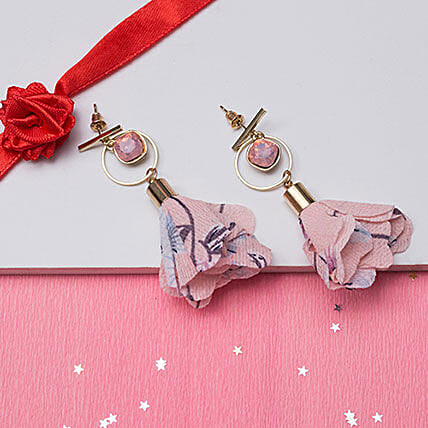 Gold Plated Pink Floral Drop Earrings