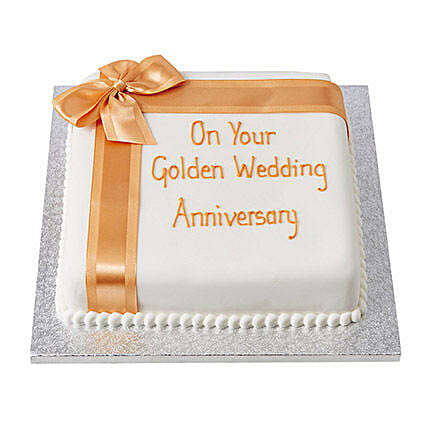 Golden Celebration Fondant Cake Vanilla 3kg Eggless