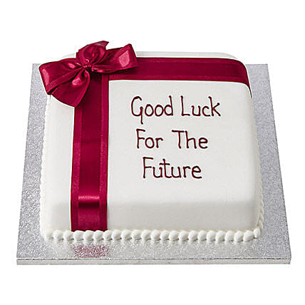 Good Luck Fondant Cake Butterscotch 3kg Eggless