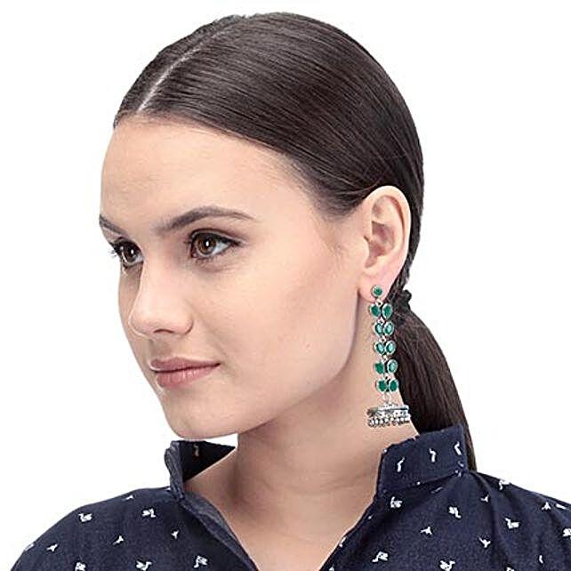 Green Designer Artificial Stone Earrings