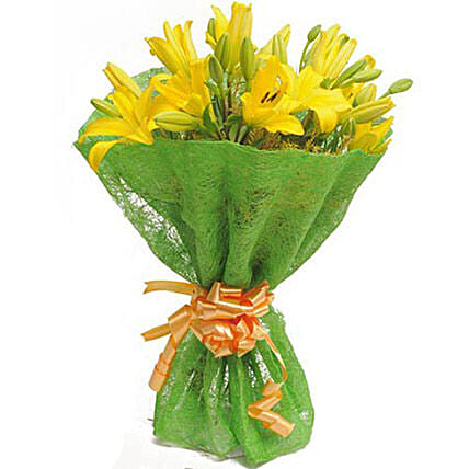 Green Light For Love - Bunch of 6 Yellow Asiatic Lilies in green jute packing.