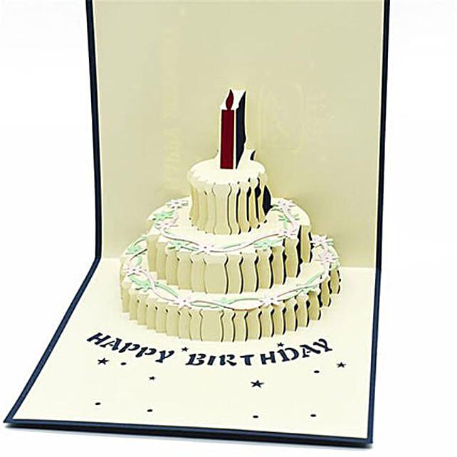 Handmade 3D Pop Up Semi Open Birthday Cake Greeting Card