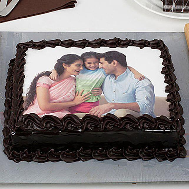 Happy Family Chocolate Photo Cake 1kg Eggless