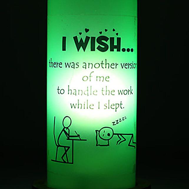Lazy Me Lamp-green coloured i wish bottle lamp